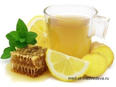 Чай с мёдом, имбирём и лимоном